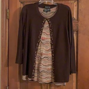 Jones NY Collection embellished shell & cardigan